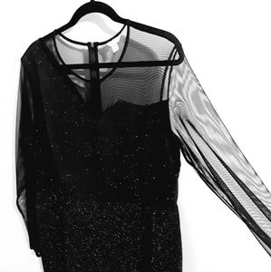 Cato plus sparkle party dress with sheer top panel